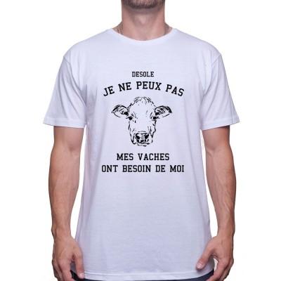 Desole mes vaches ont besoin de moi - Tshirt Humour Agriculteur T-shirt Homme