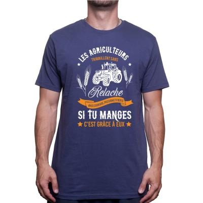 Les agriculteurs travail sans relache - Tshirt Humour Agriculteur T-shirt Homme