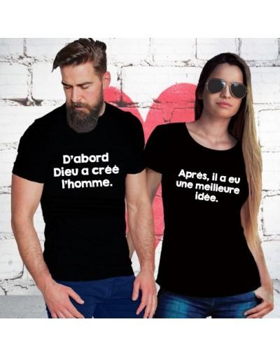 Dabord dieu crea l'homme – Tshirt Duo pour Couple