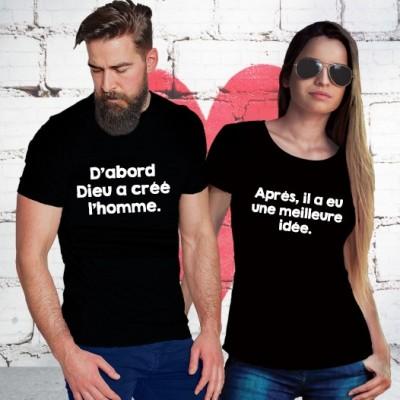 Tshirt Couple – Dabord dieu crea l'homme – Shirtizz Couple