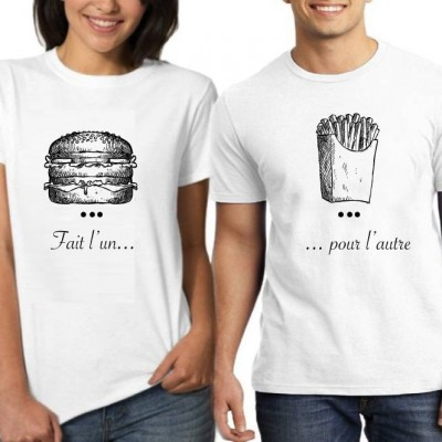 Fait l'un pour l'autre - Burger and Frites – Tshirt Duo pour Couple