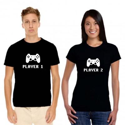 Tshirt Couple – Player 1 et 2 – Shirtizz Couple