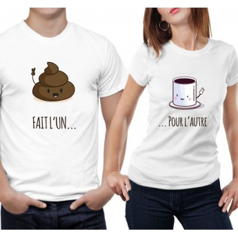 Fait l'un pour l'autre - Café et Caca – Tshirt Duo pour Couple Couple
