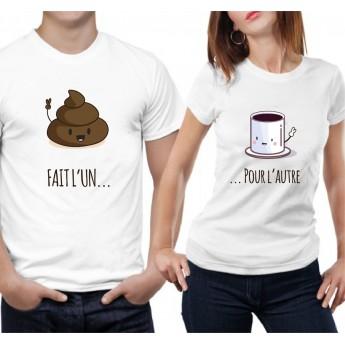Tshirt Couple – Fait l'un pour l'autre - Café et Caca – Shirtizz Couple