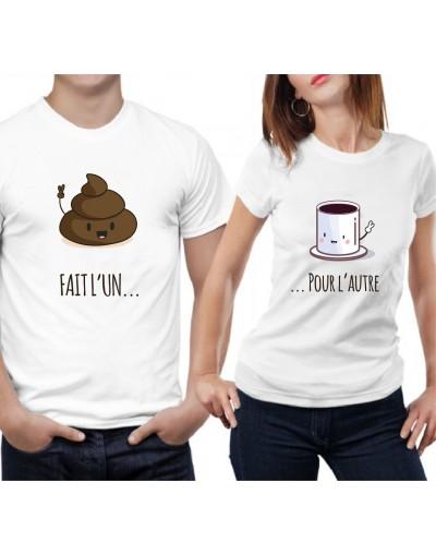 Fait l'un pour l'autre - Café et Caca – Tshirt Duo pour Couple