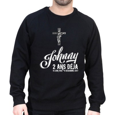 Anniversaire mort Johnny Déjà 2 ans - Sweat Crewneck Homme Johnny Sweat Crewneck Homme Jonny