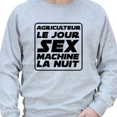 Agriculteur le jour Sex Machine la nuit – Sweat Crewneck Homme Agriculteur Sweat Homme agriculteur