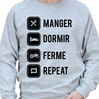 eat sleep farm and repeat - Sweat Crewneck Homme Agriculteur Sweat Homme agriculteur