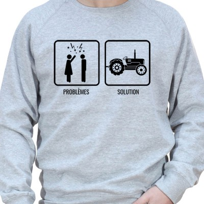 Problem Re?solu - Sweat Crewneck Homme Agriculteur Sweat Homme agriculteur