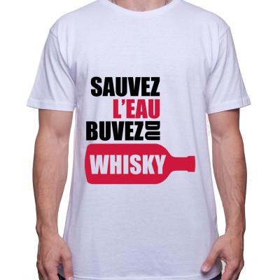 Sauvez l'eau buvez du wisky – Tshirt Homme Alcool