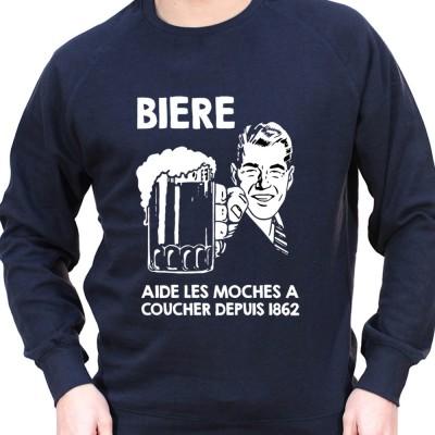 Biere aide les moches a baiser depuis 1856 – Sweat Crewneck Homme Alcool