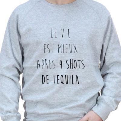 La vie est plus belle apres 4 shot – Sweat Crewneck Homme Alcool