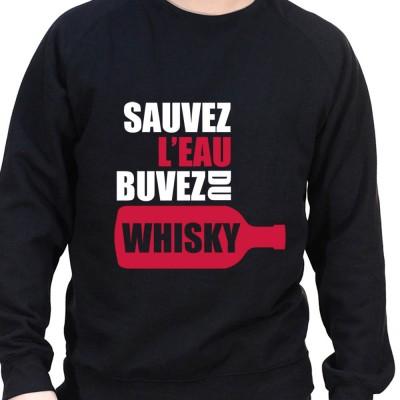 Sauvez l'eau buvez du wisky – Sweat Crewneck Homme Alcool