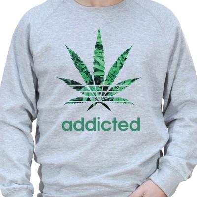 Addicted - Sweat Crewneck Homme Weed Sweat Crewneck Homme Weed
