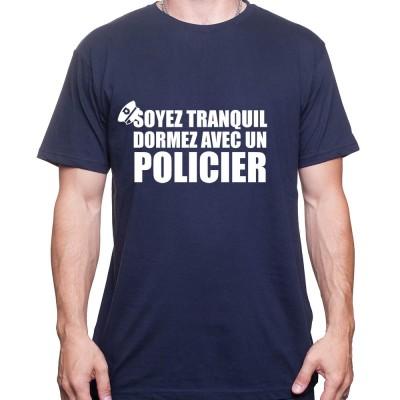 Soyez en securite dormez avec un policier - Tshirt Homme Policier