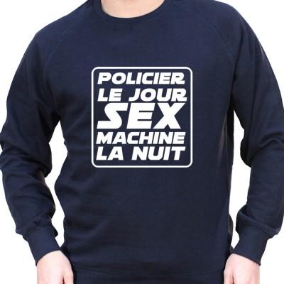 Policier le jour Sex Machine la nuit - Sweat Crewneck Homme Policier Sweat Crewneck homme Policier