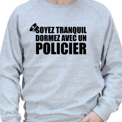 Soyez en securite dormez avec un policier - Sweat Crewneck Homme Policier Sweat Crewneck homme Policier