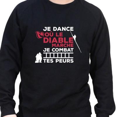 Je dance ou le diable marche je combat tes peurs - Sweat Crewneck Homme Pompier Sweat Crewneck Homme