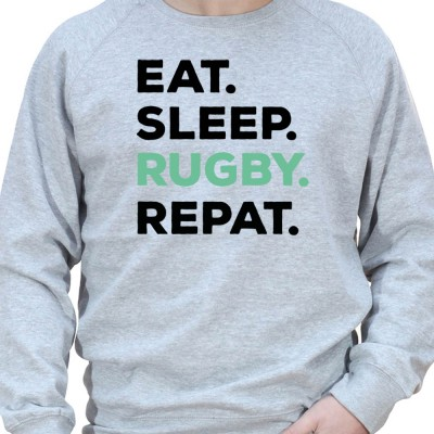 Eat Sleep Rugby REpeat - Sweat Crewneck Homme Rugby