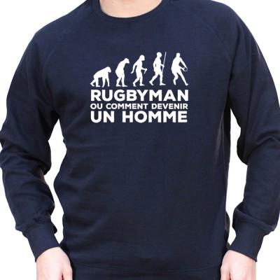 Rugby est ce qui fait un homme - Sweat Crewneck Homme Rugby Sweat Crewneck Rugby