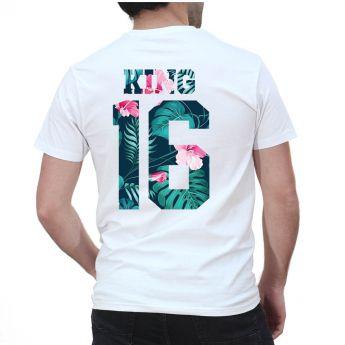 Tshirt Couple Personnalisable – Lot King & Queen Flower – Shirtizz Couple
