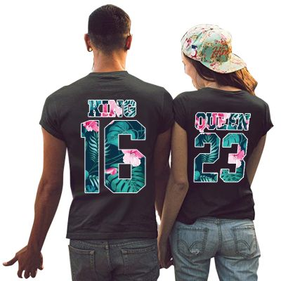 Tshirt Couple Personnalisable – Lot King & Queen Flower – Shirtizz Couple