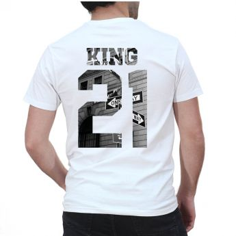 King & Queen B&W Personnalisable Tshirt Duo Couple Couple