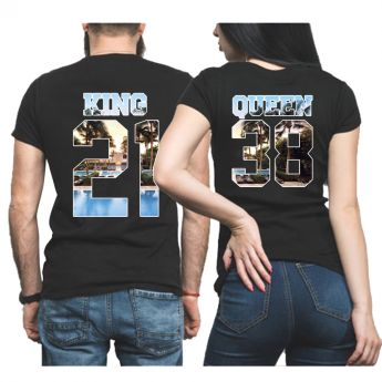 King & Queen Miami Personnalisable Tshirt Duo Couple Couple