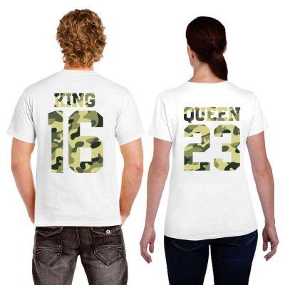Tshirt Couple – King & Queen Camo Militaire Personnalisable – Shirtizz Couple