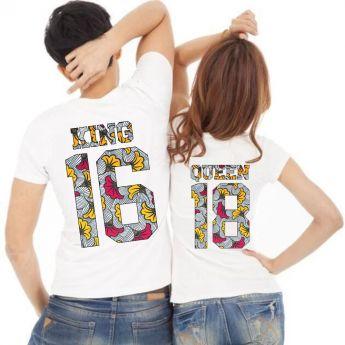 Tshirt Couple – Lot King & Queen Camo Wax Personnalisable – Shirtizz