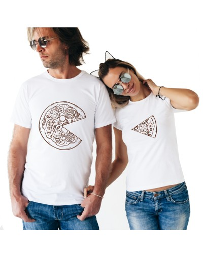 Une pizza à deux ? Tshirt Duo Couple Tshirt DUO