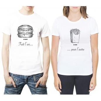 Fait l'un pour l'autre - Burger et Frite ? Tshirt Duo pour Couple Tshirt DUO